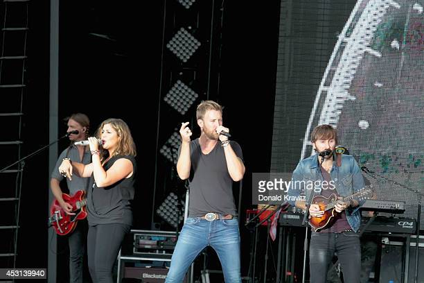 Hillary Scott Charles Kelley and Dave Haywood of Lady Antebellum performs on August 3 2014 in Atlantic City United States