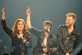 Hillary Scott Dave Haywood and Charles Kelley of Lady Antebellum perform at Patriot Center on February 21 2014 in Fairfax Virginia