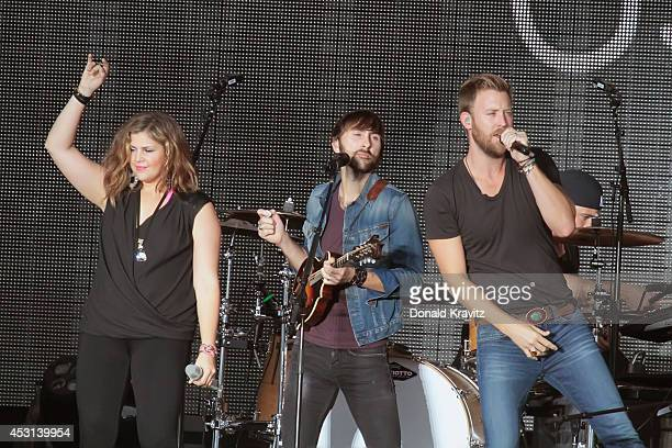 Hillary Scott Dave Haywood and Charles Kelley of Lady Antebellum performs on August 3 2014 in Atlantic City United States
