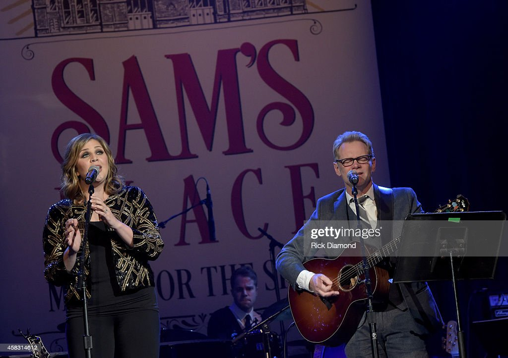 Hillary Scott Lady Antebellum and Steven Curtis Chapman perform at the first of six monthly concerts hosted by Steven Curtis Chapman, Sam's Place - Music For The Spirit at Ryman Auditorium on November 2, 2014 in Nashville, Tennessee.