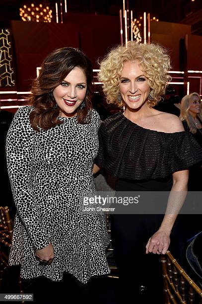Hillary Scott of Lady Antebellum and Kimberly Schlapman of Little Big Town attend the 2015 'CMT Artists of the Year' at Schermerhorn Symphony Center...