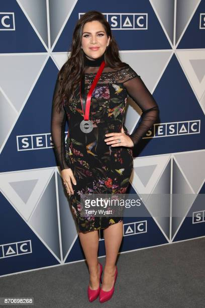 Hillary Scott of Lady Antebellum arrives at the 2017 SESAC Nashville Music Awards at Country Music Hall of Fame and Museum on November 5 2017 in...