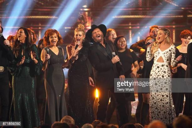 Hillary Scott Reba McEntire Faith Hill Garth Brooks and Kelsea Ballerini perform onstage at the 51st annual CMA Awards at the Bridgestone Arena on...