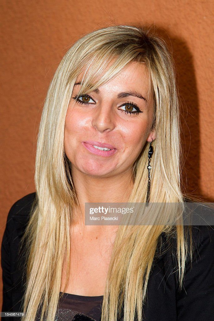 Hillary Vanderosieren, candidate of the 'Les ch'tis a Mykonos' tv-season, is seen at the SFP TV studio on October 22, 2012 in Paris, France.