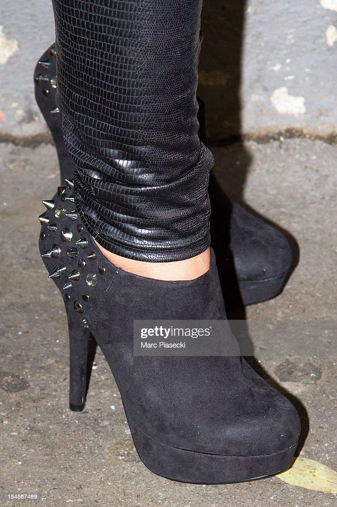 Hillary Vanderosieren (shoe detail), candidate of the 'Les ch'tis a Mykonos' tv-season, is seen at the SFP TV studio on October 22, 2012 in Paris, France.