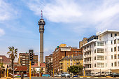 Hillbrow communications tower and apartment buildings in Johannesburg city centre.