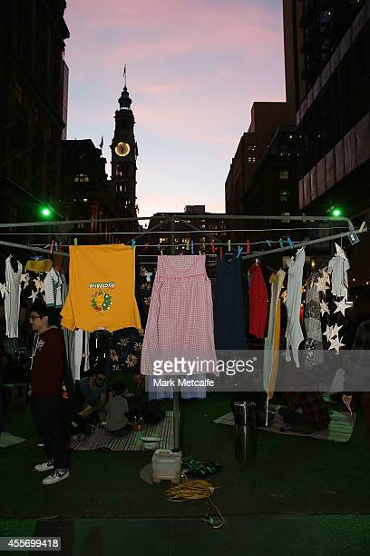 Hills Hoist is seen during the launch of Sydney's Art About at Martin Place on September 19 2014 in Sydney Australia