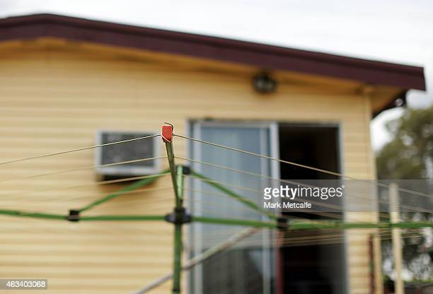 Hills Hoist is seen in the back garden at a home auction for a fourbedroom house at 230 Blacktown Road on February 14 2015 in Blacktown Australia The...