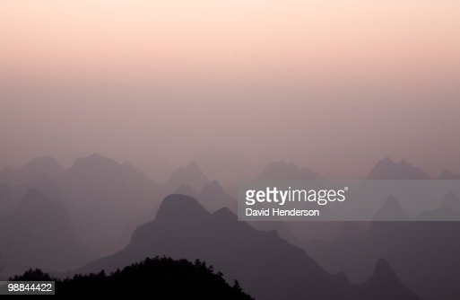 Hills silhouetted, Guilin, China : Stock Photo