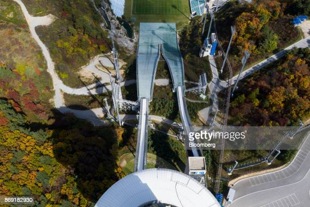 Hills stand at the Alpensia Ski Jumping Stadium the venue for ski jumping events at the 2018 PyeongChang Winter Olympic Games in this aerial...