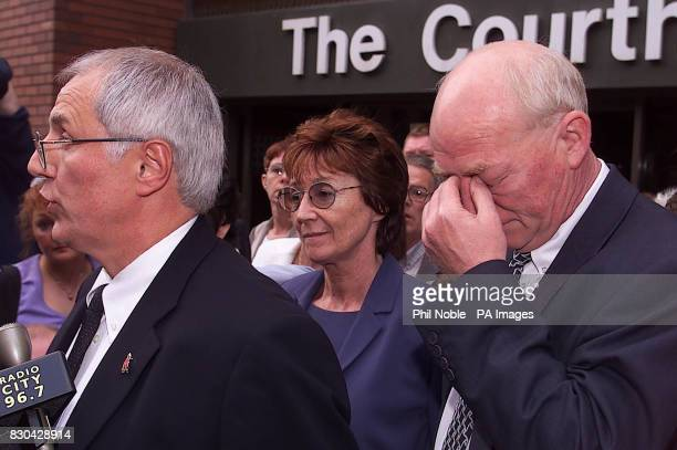 Hillsborough family member Phil Hammond breaks down outside Leeds Crown Court as Trevor Hicks and Ann Adlington address the media after the judge at...