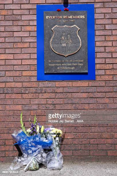 Hillsborough memorial outside on its anniversary prior to the Premier League match between Everton and Burnley at Goodison Park on April 15 2017 in...