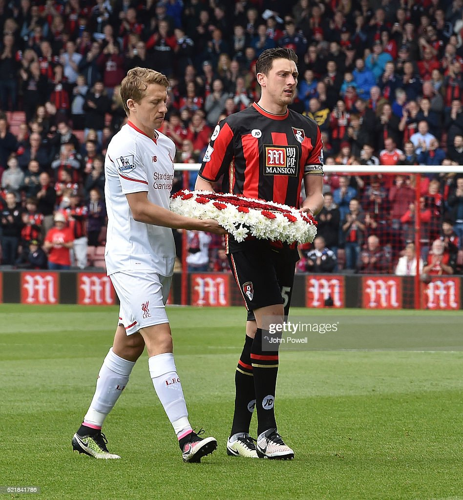 Hillsborough Memorial wreath presented by the two captians Lucas Leiva of Liverpool and Tommy Elphick of AFC Bournemouth before the Barclays Premier League match between A.F.C. Bournemouth and Liverpool at Vitality Stadium on April 17, 2016 in Bournemouth, England