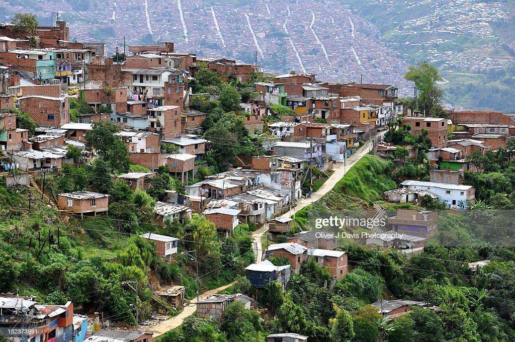 Hill-top barrio and shacks : Stock Photo