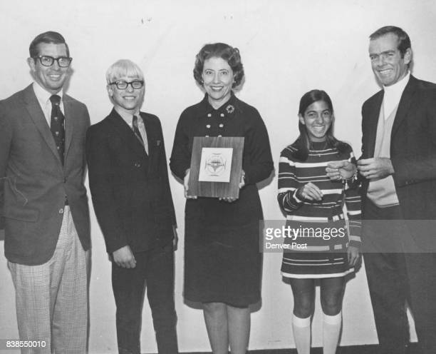 Hillway Rich Tennis L to R Rich Hillway 1970 Little Johnny Award Winner Mark Freeman Denver Post sports reporter Dorothy Mauk 1970 Little Janie Award...