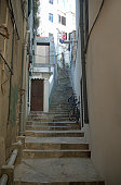 Hilly Alley in Gibraltar with bicycles