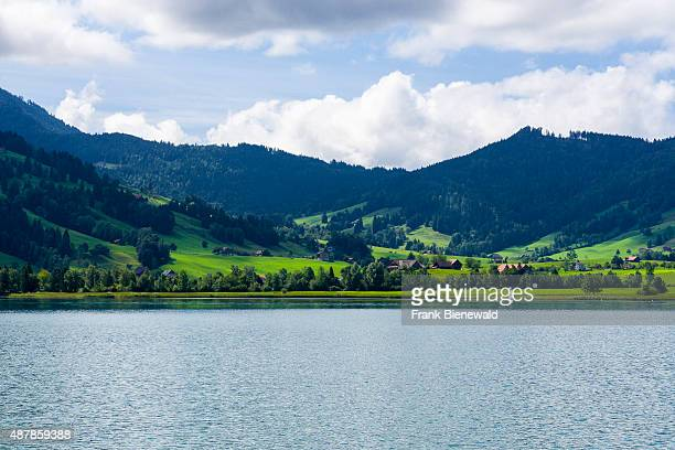 OBERAEGERI ZUG SWITZERLAND Hilly landscape with the Aegerisee some farmers houses mountains forest and green meadows