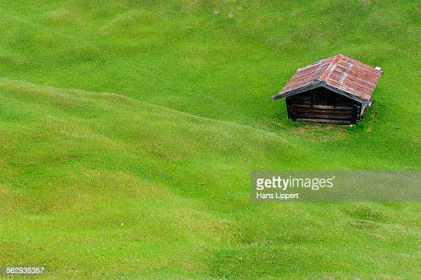 Hilly meadow with hay barn at Mt. Kranzberg, Karwendelgebirge mountains, Mittenwald, Werdenfelser Land area, Upper Bavaria, Bavaria, Germany, Europe