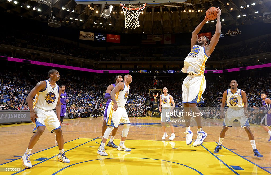 <a gi-track='captionPersonalityLinkClicked' href=/galleries/search?phrase=Hilton+Armstrong&family=editorial&specificpeople=727248 ng-click='$event.stopPropagation()'>Hilton Armstrong</a> #57 of the Golden State Warriors rebounds against the Sacramento Kings on April 4, 2014 at Oracle Arena in Oakland, California.