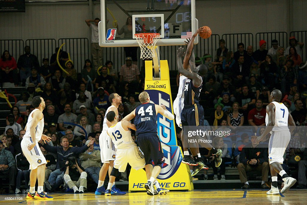 <a gi-track='captionPersonalityLinkClicked' href=/galleries/search?phrase=Hilton+Armstrong&family=editorial&specificpeople=727248 ng-click='$event.stopPropagation()'>Hilton Armstrong</a> #34 of the Santa Cruz Warriors blocks a shot from <a gi-track='captionPersonalityLinkClicked' href=/galleries/search?phrase=Mac+Koshwal&family=editorial&specificpeople=4691187 ng-click='$event.stopPropagation()'>Mac Koshwal</a> #34 of the Bakersfield Jam on November 30, 2013 at Kaiser Permanente Arena in Santa Cruz, California.