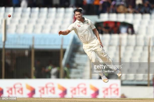 Hilton Cartwright of Australia attempts to field off his own bowling during day one of the Second Test match between Bangladesh and Australia at...