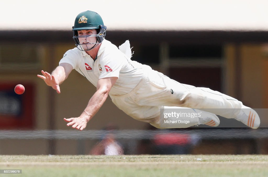 Hilton Cartwright of Australia dives for an attempted catch during day three of the Australian Test cricket inter-squad match at Marrara Cricket Ground on August 16, 2017 in Darwin, Australia.