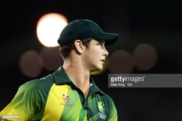 Hilton Cartwright of the Australian PMXI looks on during the T20 warm up match between the Australian PM's XI and Sri Lanka at Manuka Oval on...
