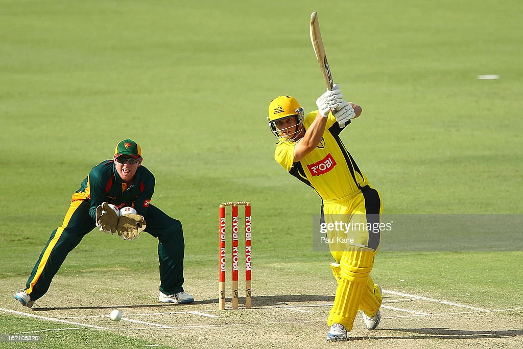 Hilton Cartwright of the Warriors bats during the Ryobi One Day Cup match between the Western Australia Warriors and the Tasmanian Tigers at the WACA on February 19, 2013 in Perth, Australia.