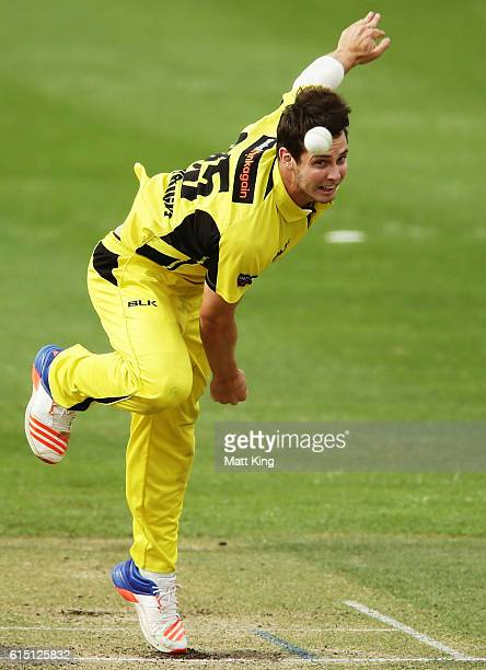 Hilton Cartwright of the Warriors bowls during the Matador BBQs One Day Cup match between the Cricket Australia XI and Western Australia at...