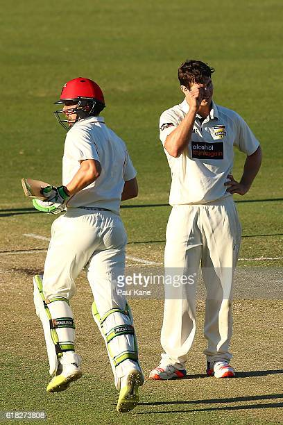 Hilton Cartwright of the Warriors reacts after being dispatched to the boundary for four by Jake Lehmann of the Redbacks during day two of the...