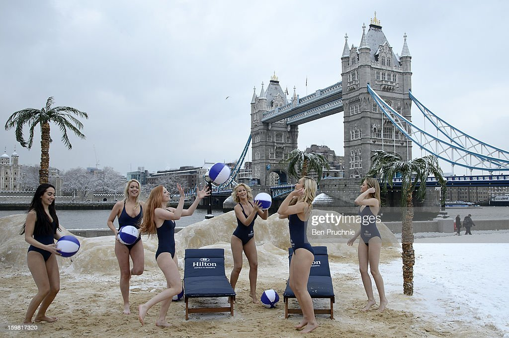 Hilton Hotels and Resorts install a pop up Beach at Potters Field Park on January 21, 2013 in London, England.