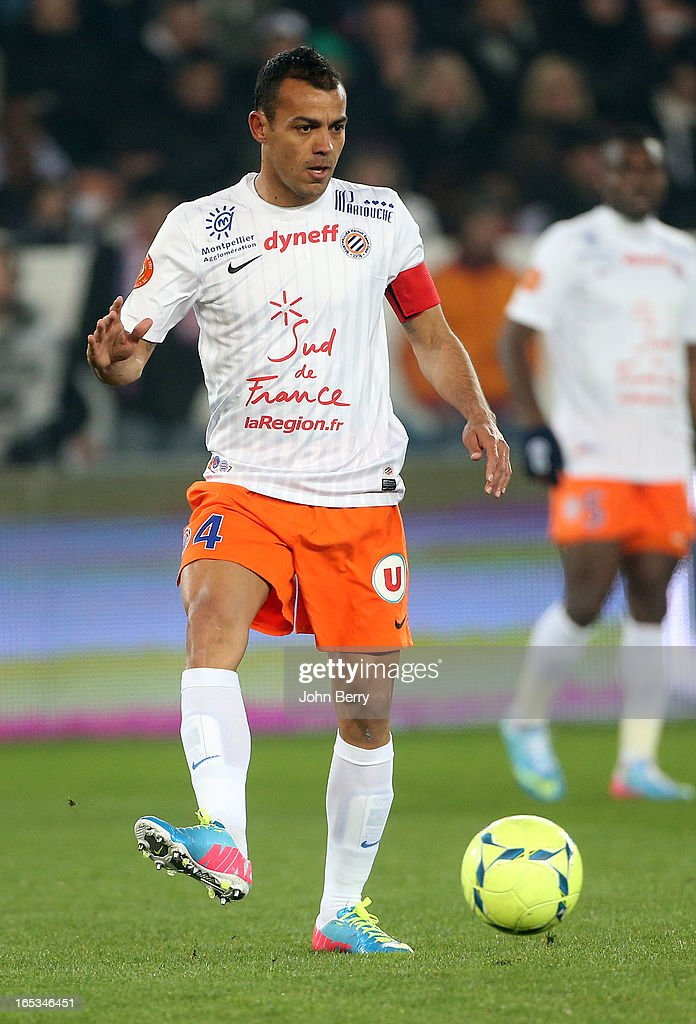 Hilton of Montpellier in action during the french Ligue 1 match between Paris Saint-Germain FC and Montpellier Herault SC at the Parc des Princes stadium on March 29, 2013 in Paris, France.