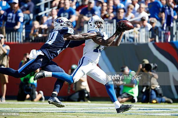 Y Hilton of the Indianapolis Colts makes a 37yard touchdown reception against Jason McCourty of the Tennessee Titans in the second quarter of the...