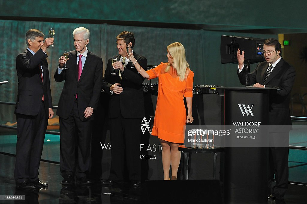 CEO, Hilton Worldwide Chris Nassetta, former California Governor <a gi-track='captionPersonalityLinkClicked' href=/galleries/search?phrase=Gray+Davis&family=editorial&specificpeople=200688 ng-click='$event.stopPropagation()'>Gray Davis</a>, Global Head of Hilton Luxury Brands John Vanderslice, Beverly Hills mayor Lilli Bosse and Owner, Beverly Hilton and Waldorf Astoria Beverly Hills Beny Alagem raise a toast during Waldorf Astoria Beverly Hills celebration at The Beverly Hilton Hotel on April 10, 2014 in Beverly Hills, California.