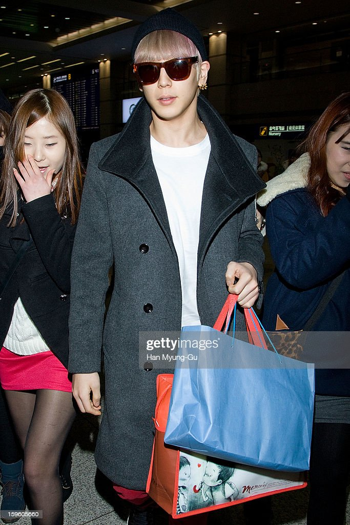 Him Chan of South Korean boy band B.A.P is seen at Incheon Inaternational Airport on January 16, 2013 in Incheon, South Korea.