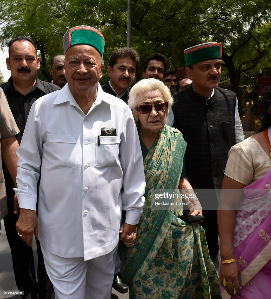 Himachal Chief Minister Virbhadra Singh during Congress party march from Jantar Mantar to Parliament on May 6, 2016 in New Delhi, India. The protest march called to highlight what the Congress party terms as Modis attack on democracy saw thousands of party workers gather at Jantar Mantar, the countrys protest capital. Congress president Sonia Gandhi, party vice-president Rahul Gandhi and former prime minister Manmohan Singh were briefly arrested and then released at the Parliament Street police station.