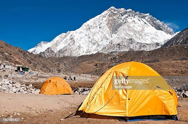 Himalaya Everest NP base camp tents mountain peaks Khumbu Nepal