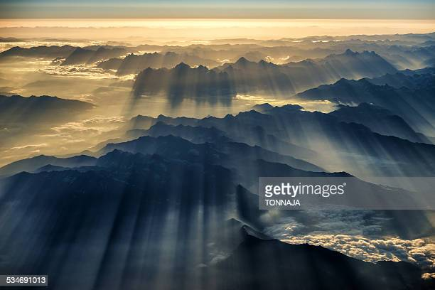 Himalaya range and sunray