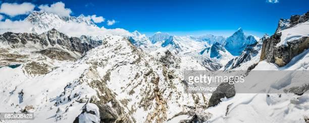 Himalayan mountain peaks panorama Nuptse Lhotse Makalu Baruntse Ama Dablam