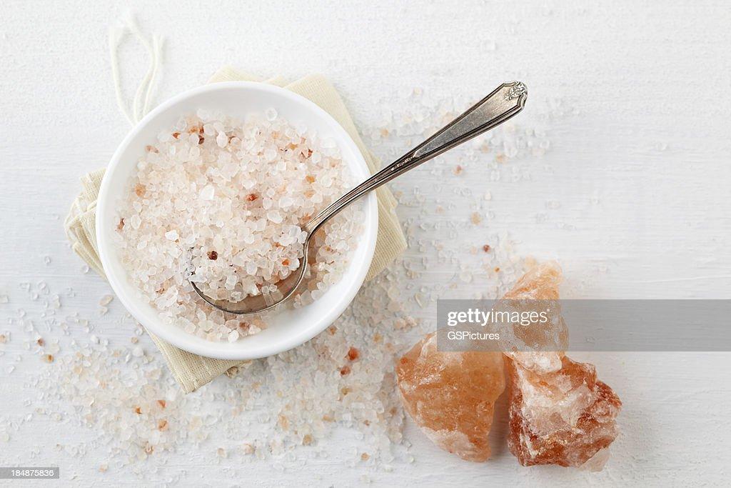Himalayan Pink Rock Salt in bowl on table