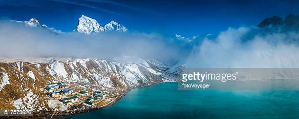 Himalayas teahouse lodges nestled beneath Everest mountain peaks Gokyo Nepal