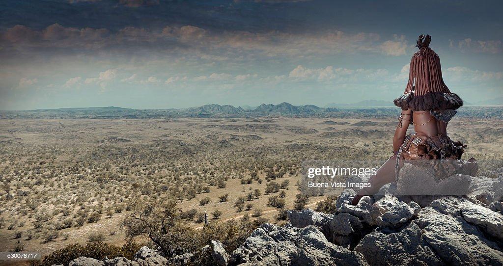 Himba woman watching landscape
