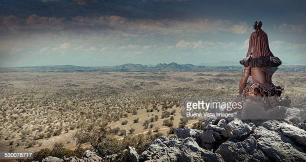 Himba woman watching landscape