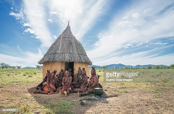 Himba women and children in their village
