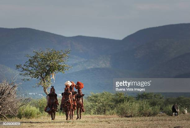 Himba women returning to their village