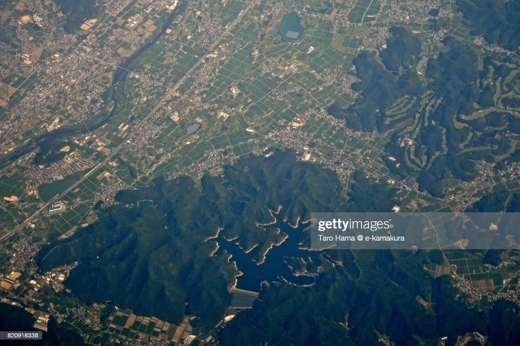 Himeji city in Hyogo prefecture day time aerial view from airplane : ストックフォト
