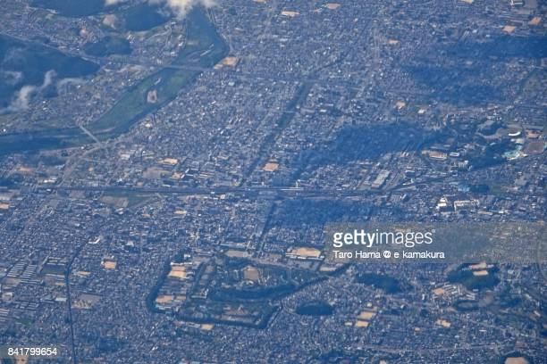 Himeji city in Hyogo prefecture day time aerial view from airplane