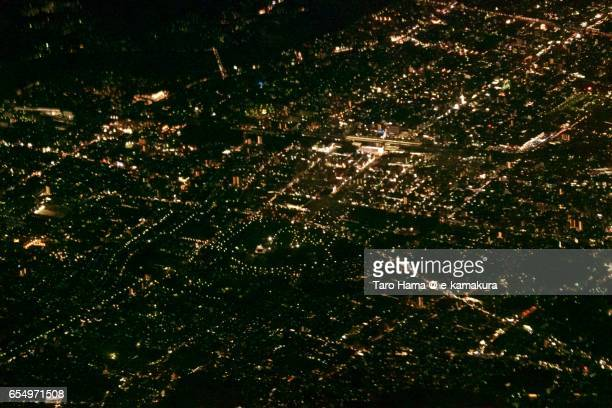 Himeji city, night aerial view from airplane