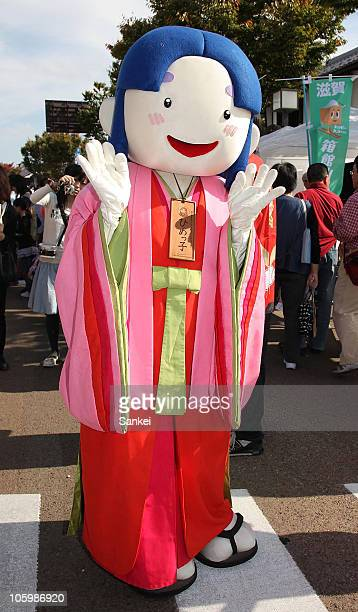 Himekko the mascot of Shinjo Village of Okayama prefecture is seen during the 'Yuru Chara Festival in Hikone' at Yumekyobashi Castle Road on October...