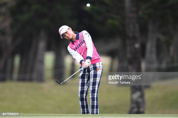 Hina Arakaki of Japan chips onto the 18th green during the first round of the Daikin Orchid Ladies Golf Tournament at the Ryukyu Golf Club on March 2...